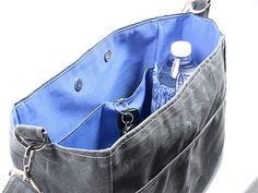 Grey Bucket Bag Waxed Canvas Vegan Leather by WhiteCrossDesigns