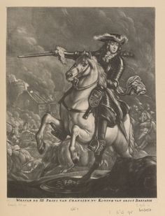 Mezzotint of William III as king. Whole length equestrian figure with tricorne, cravat, armour, and holding baton in right hand. With a view of a battle in the background. With Dutch inscription below, borders trimmed. Royal Collection Trust/© Her Majesty Queen Elizabeth II 2016