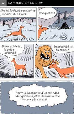 Fable d'Esope en BD - LA BICHE ET LE LION Fables D'esope, Lion And The Mouse, Expressions, France, Idioms, Conte, Education, Comics, Morale