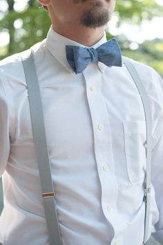 groomsmen option - charcoal suspenders and yellow bow tie