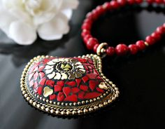 Statement Necklace, Nepalese Red Coral Necklace, Coral Gold ...