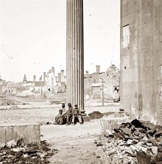 picture of Charleston, S.C.  View of ruined buildings through porch of the Circular Church (150 Meeting Street).  It was created in 1865.