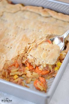 Use your leftover ham to make Cheesy Ham Pot Pie! Your family will love this dinner recipe!