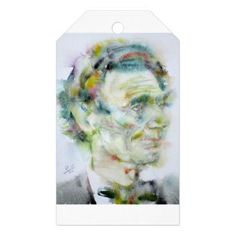 ABRAHAM LINCOLN - watercolor portrait Gift Tags - portrait gifts cyo diy personalize custom