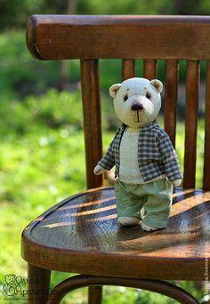 Купить Прохор - авторский коллекционный мишка Тедди плюшевый мишка - желтый, мишка, мишки тедди