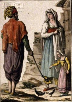 JACQUES GRASSET S.T. SAUVEUR (1757-1810) (painter) & J. LACHAUSSE (engraver) Man and woman from Limnos island 1805, coloured etching, 16 x 11 cm