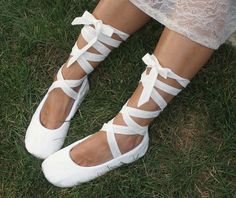 Ivory Ballet Slippers Bridal Flats with Cotton Eyelet on Etsy, $125.00