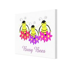 Whimsical Busy Bees Canvas Print #bees #whimsical #canvas
