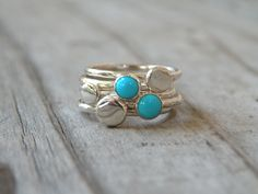 Turquoise Stacking Rings, Sterling Silver