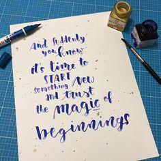trust the magic of beginnings - Handlettering von Gelbkariert