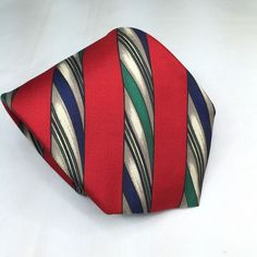 Silk Necktie Tie Robert Talbott The Cricket Shop Red Diagonal Stripes Classic #RobertTalbott #NeckTie