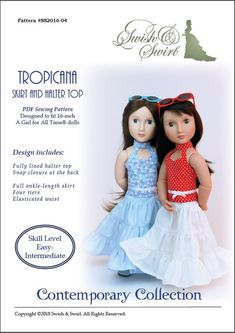 PDF Pattern SS2016-04. Tropicana Skirt and Halter Top for