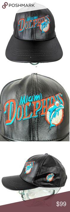 2795328e5 Miami Dolphins Hat Vintage Leather NFL Cap Black Miami Dolphins Hat Vintage  Leather NFL Cap Black