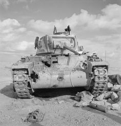 The British Army in North Africa.  A Matilda tank knocked out during battle near Tobruk, December 15, 1941.