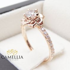 Flower Rose Unique Engagement Ring Right Hand by CamelliaJewelry