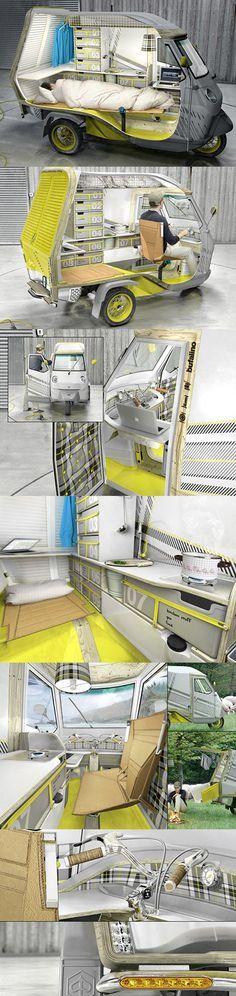 """Le designer alleand Cornelius Comanns réinvente le mobile home avec son """"Bufalino"""". Pensé pour une seule personne, ce véhicule à trois roues aménagé sur la base du modèle Piaggio APE 50 comprend un espace couchage, une kitchenette avec un réfrigérateur et même une réserve d'eau ! #dccv #ducotedechezvous #tiny #house #nomadisme #archi #dmvA #design #home #piaggo #comanns"""