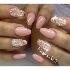 Nude pink glitter nails