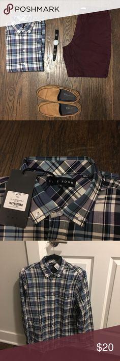 Men's Five Four Plaid Long Sleeve Shirt NWT! Men's Five Four Striped Shirt. Never worn, in amazing condition. Size: Men's Medium. (100% Cotton). Five Four Shirts Casual Button Down Shirts