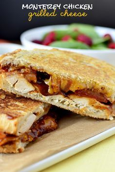 Monterey Chicken Grilled Cheese is chicken, bacon, BBQ sauce, and cheddar cheese grilled up on crusty, hearty bread. | iowagirleats.com