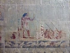 Hippo hunters, spears poised while afloat a papyrus boat, taken from the tomb of Ti at Saqqara.