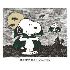 Snoopy and woodstock as vampires saying Happy Halloween