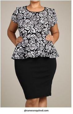 Womens Floral Junior Plus Peplum Dress 1X 2X 3X #Unbranded #Peplum #WeartoWork