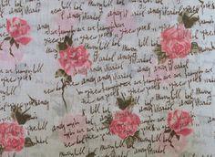 Stoff Blumen - 482 Baumwollstoff  Rosen  Weiß Rosa - ein Designerstück von my-kati bei DaWanda