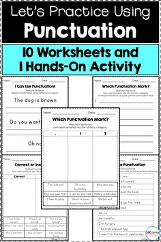 """This product includes 10 worksheets and 1 hands-on activity for using ending punctuation.What's """"Which Punctuation Mark?"""" """"Fill In The Punctuation"""" """"I Can Use Punctuation"""" Hands-On Activity and Recording SheetIf you p. Hands On Learning, Hands On Activities, Kindergarten Activities, Learning Activities, Kids Learning, Writing Resources, Teacher Resources, Teaching Ideas, Teaching Methods"""