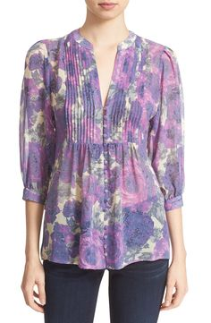 Joie 'Datev' Floral Print Silk Blouse