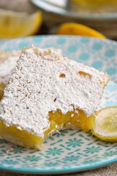 There's nothing like the fresh spring taste of Gluten Free Lemon Bars! They're the perfect party treat with a whole lot of sweet and a little punch of lemony tartness. Gluten Free Lemon Bar Recipe, Gluten Free Baking, Gluten Free Desserts, Gluten Free Recipes, Gf Recipes, Sweet Recipes, Basil Recipes, Vegan Baking, Healthy Baking