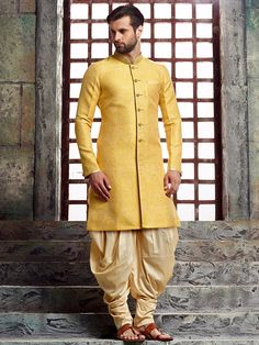 Yellow Silk Wedding Kurta Suit