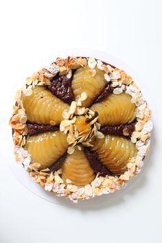 Tarte Bourdaloue poire chocolat - Recette Olivia Pâtisse Cacao, Acai Bowl, Biscuits, Breakfast, Desserts, Food, Poached Pears, Pear Tart, Apple Cakes
