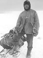 Captain Robert Falcon Scott in his sledging gear. After his disappointing arrival at the pole, Scott and his men died of exposure and starvation on the return voyage; making him a rather unlucky man.