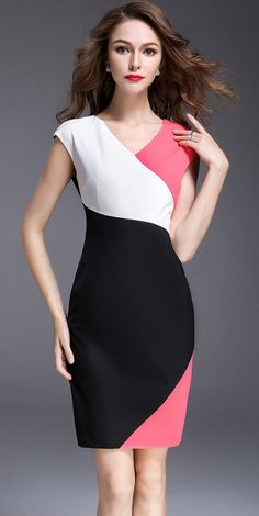 Hit Color Slim Sleeveless Bodycon Dress