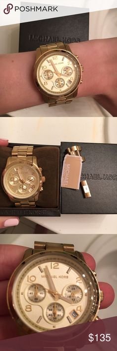 Michael Kors Gold Runway Watch Michael Kors gold runway watch. Gently used, showing some minor signs of wear as shown in pics. Small scratch on the face but hardly noticeable. This watch is not running right now, the battery just needs to be replaced. Includes MK box and extra links. Michael Kors Accessories Watches