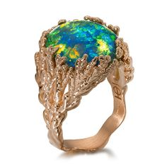 "Ring ""Coral Atoll"" with black Australian opal set in 18k rose gold by Ornella Iannuzzi, 2011"