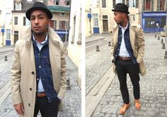 Shop this look for $439:  http://lookastic.com/men/looks/derby-shoes-and-overcoat-and-belt-and-chinos-and-denim-jacket-and-longsleeve-shirt/586  — Walnut Leather Derby Shoes  — Beige Overcoat  — Brown Leather Belt  — Black Chinos  — Navy Denim Jacket  — Blue Longsleeve Shirt
