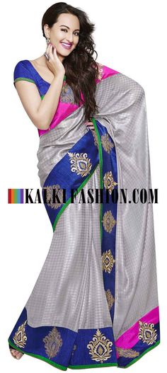Buy Online from the link below. We ship worldwide (Free Shipping over US$100) http://www.kalkifashion.com/grey-saree-featuring-in-embossed-zari-embroidery.html