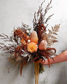 For Lorren, with a bed of amber amaranthus. Her ceremony was taking place against the natural bracken undergrowth of the Great Otway… Boho Wedding Flowers, Fall Wedding Bouquets, Bridal Flowers, Floral Wedding, Dried Flower Bouquet, Dried Flowers, Dahlia Bouquet, Cascade Bouquet, Dried Flower Arrangements