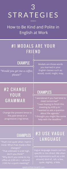 How to Be Kind & Polite in English at Work <br> Surprising ways we use vocabulary & grammar for kind, polite English. Learn how you can use these strategies with your friends & colleagues to develop better relationships. English Tips, English Class, English Lessons, English Writing, English Words, English Grammar, Improve English Speaking, Learn English, How To Improve English