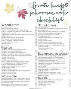 Grote herfst schoonmaak checklist Move In Cleaning, Cleaning Hacks, Bullet Journal Topics, Home Management, Making Life Easier, Life Planner, Good Advice, Getting Organized, Keep It Cleaner