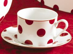 Rosanna Red Dots Gift-boxed Teacups and Saucers, Set of 4