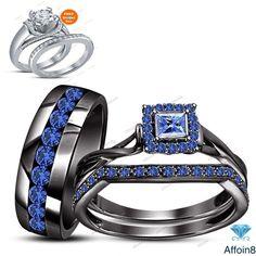 2.50 CT Princess & Round Cut Blue Sapphire 925 Silver Trio Engagement Ring Set