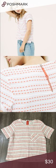 Lou & Grey Catalina top white & orange M Good used condition Inventory# 183 Lou & Grey Tops