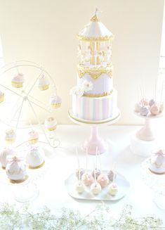 Pink, Lilac and Gold Carousel Themed Cake Table | Chérie Kelly