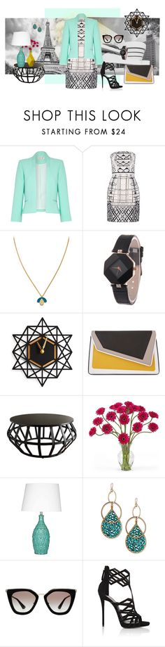 """""""Geometric structure"""" by love-n-laughter ❤ liked on Polyvore featuring Damsel in a Dress, Mary Katrantzou, Wolf & Moon, âme moi, Tribecca Home, Nearly Natural, Devon Leigh, Prada and Giuseppe Zanotti"""
