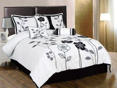 Chezmoi Collection 7-Piece White, Grey, and Black Lily with Leaf Applique Comforter 90-Inch by 92-Inch Set, Bed-in-a-bag Queen Size Bedding by Chezmoi Collection, http://www.amazon.com/dp/B004J6WSQK/ref=cm_sw_r_pi_dp_I1bDrb1QT36A3