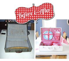 Adorable picnic/birthday box from vintage suitcase