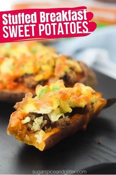 A veggie and protein-packed breakfast sweet potatoes recipe is the perfect healthy breakfast recipe to start your day on the right foot. Sweet potatoes, vegan sausage, scrambled eggs and cheese combine to make a satisfying and delicious breakfast that will keep you full all morning long.