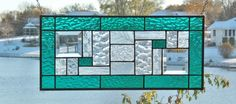 Stained glass panel window hanging geometric teal abstract stained glass window panel modern contemporary GT1